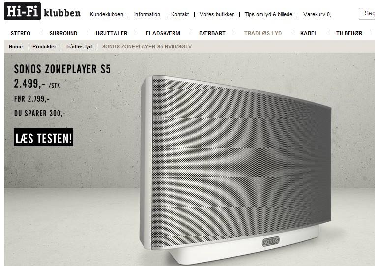 Sonos ZPS5 nedsat til kr. 2499 hos Hi-Fi Klubben